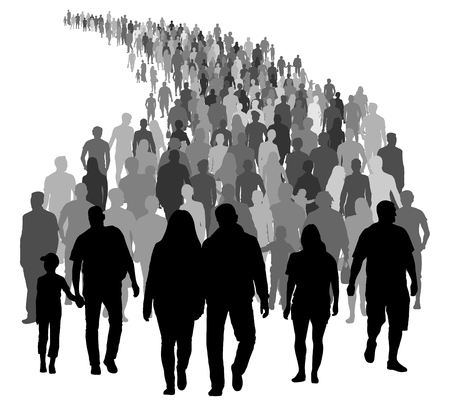 Big crowd of people is moving. Silhouette vector Illustration