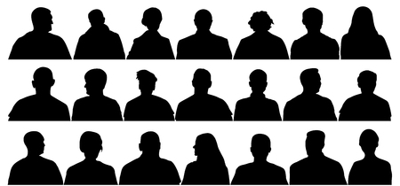 Audience cinema, theater. Crowd of people in the auditorium, silhouette vector isolated Ilustrace