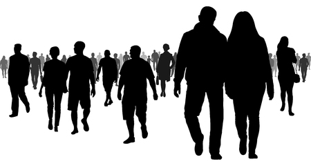 Crowd of people going to a meeting silhouette Иллюстрация