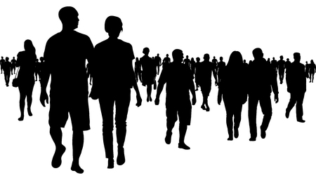 Crowd of people walking silhouette Stock Illustratie