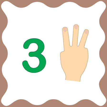 Number 3 (three), educational card, learning counting with fingers of hand, mathematics. Vector illustration. Illustration