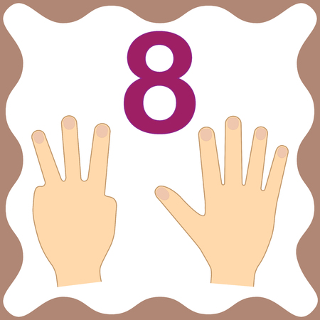 Number 8 (eight), educational card, learning counting with fingers of hand, mathematics. Vector illustration. Illustration