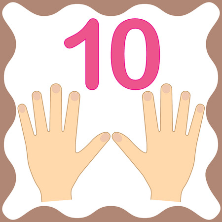 Number 10 (ten), educational card, learning counting with fingers of hand, mathematics. Vector illustration.
