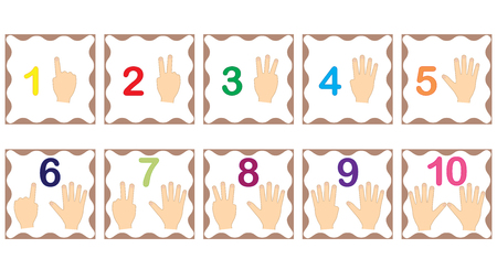 Learning numbers, mathematics with fingers of hand. Flash cards with numbers from 1 to 10, set. Game for children. Vector illustration.