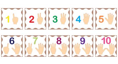 Zahlen lernen, Mathematik mit den Fingern der Hand. Flash-Karten mit Zahlen von 1 bis 10, Set. Spiel für Kinder. Vektor-Illustration. Vektorgrafik