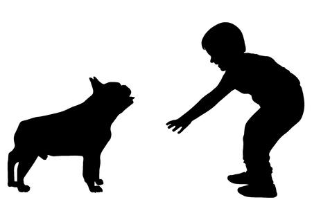 Le garçon veut caresser la silhouette du chien (bouledogue), vecteur