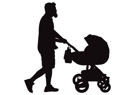 Man (father) walking with baby carriage silhouette, vector Ilustración de vector