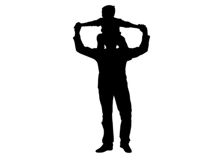 Child (son) sitting on shoulders of man (father) silhouette, vector Vectores