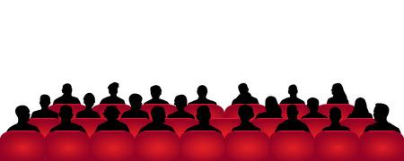 Cinéma de public, théâtre. Foule de gens dans l'auditorium, vecteur de silhouette, spectateurs