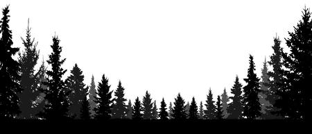 Wald, Nadelbäume, Schattenbildvektorhintergrund. Baum, Tanne, Weihnachtsbaum, Fichte, Kiefer