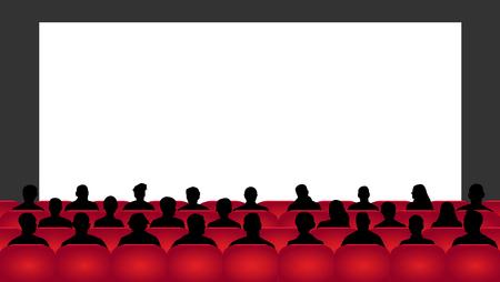 Les gens s'assoient dans la salle de cinéma. Cinéma de public, théâtre. Foule de gens dans l'auditorium, vecteur de silhouette, spectateurs Vecteurs