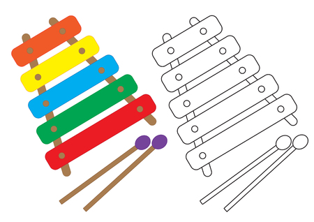 Xylophone colorful and in black with white colors, coloring page. Vector illustration.