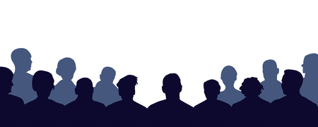 Crowd of people auditorium, silhouette vector. Audience, public, auditory, classroom Vector Illustration