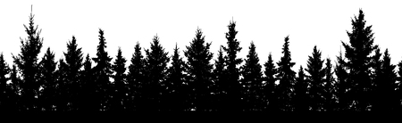 Seamless pattern. Forest of Christmas fir trees silhouette. Coniferous spruce.  イラスト・ベクター素材