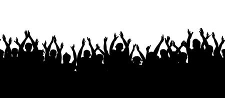 Patrón sin costuras. Audiencia de aplausos. Multitud de personas vitoreando. Ilustración de vector