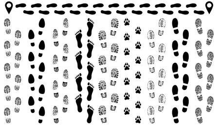 Footprint of shoes on the road, isolated set silhouette vector. Traces sole, imprint. Footstep, footwear 免版税图像 - 110286666