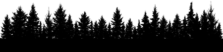 Fir trees silhouette. Forest, vector Stock Illustratie