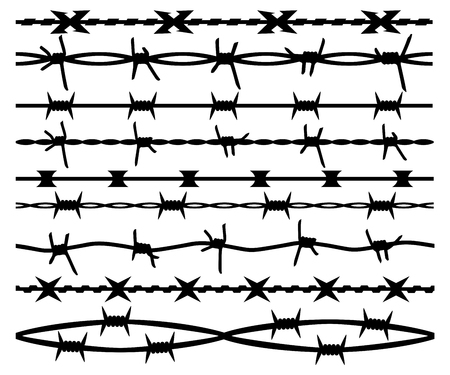 Barbed wire, set seamless brush, isolated silhouette. Barbwire vector background