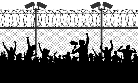 Crowd of people behind bars demanding to open the border. Migrants and refugees are standing behind closed and shut barrier, fence made of barbed wire. Vector illustration silhouette