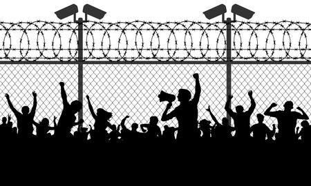 Foule de gens derrière les barreaux exigeant d'ouvrir la frontière. Les migrants et les réfugiés se tiennent derrière une barrière fermée et fermée, une clôture en fil de fer barbelé. Silhouette illustration vectorielle