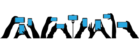 Crowd of people shoot the event on a smartphone. In the hands of the camera shoots a video at a party concert. Isolated silhouette set vector