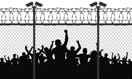 Enraged crowd of people are behind bars. Fence wire mesh barbed wire, vector silhouette. Street camera on the pillar Illustration