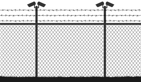 Fence wire mesh barbed wire, vector silhouette. Street camera on the pillar. No passage, no thoroughfare Illustration