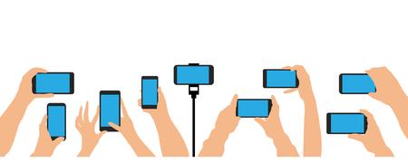 Mani che tengono telefono, smartphone. Folla di persone evento, concerto, festa. Set isolato illustrazione vettoriale Vettoriali