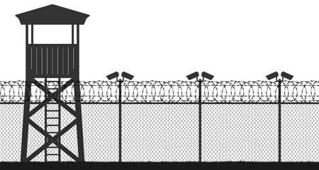 Wieża więzienna, punkt kontrolny, teren ochronny, wieża strażnicza, granica państwowa, baza wojskowa. Kamera uliczna na słupku. Drut kolczasty z drutu ogrodzeniowego, sylwetka wektor bez szwu