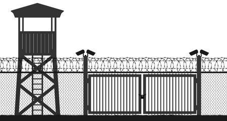 Kontrollpunkt, Gefängnisturm, Schutzgebiet, Wachturm, Staatsgrenze, Militärbasis. Straßenkamera auf der Säule. Blockpfosten, Tor. Zaun Drahtgitter Stacheldraht, nahtlose Vektor-Silhouette