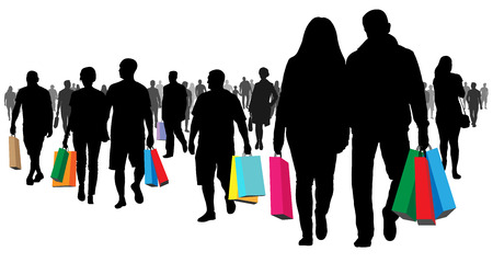 Shopping, shop. Many buyers. People go with the goods and packages. Crowd of people going to a meeting silhouette. Isolated vector