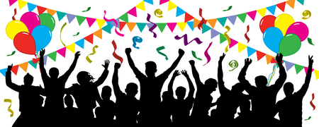Crowd of fun people on party, holiday. Cheerful event. People having fun celebrating. Balloons, ribbons, confetti. Festive mood of people. Applause people hands up. Silhouette Vector Illustration Vettoriali