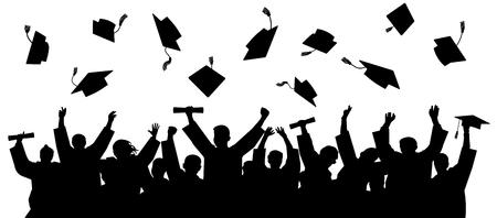 Afgestudeerd aan universiteit, hogeschool. Menigte van afgestudeerden in mantels, gooit de vierkante academische petten op. Vrolijke mensen silhouet vector