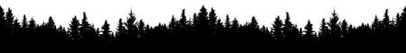 Nahtlose Silhouette des Nadelwaldes, Vektor. Panorama immergrüner Weihnachtsbaum, Fichte, Tanne. Isolierter Vektor auf weißem Hintergrund