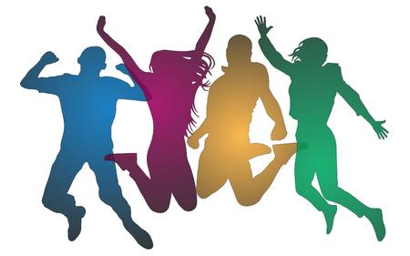 Les jeunes dans un saut coloré. Joyeux homme et femme isolés. Amis de saut. silhouette vecteur Vecteurs