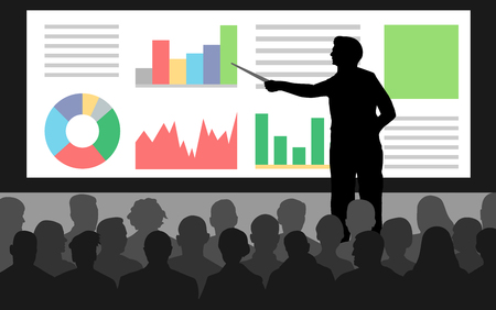 Business conference, presentation charts. Teacher, speaker stands near the screen. Lecture at the university, training. Lecturer lesson. Courses of knowledge. Silhouette Vector Illustration