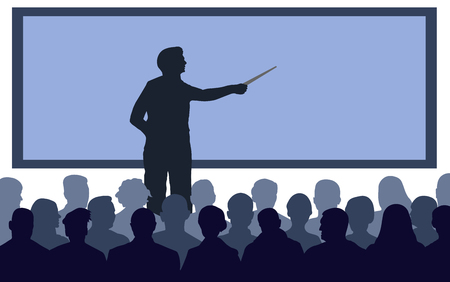 Business conference, presentation. Teacher, speaker stands near the screen. Lecture at the university, training. Lecturer lesson. Courses of knowledge. Silhouette Vector Illustration Stock Illustratie