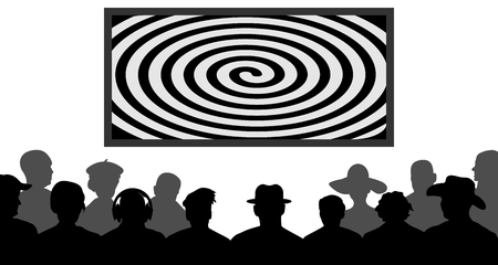 Group of people, watching TV, screen spiral. Crowd of people in the auditorium. Audience cinema, theater. Public presentation, anonymous faces. Viewers celebrity. Silhouette vector isolated Illustration
