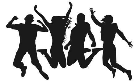 La gente salta silueta vectorial. Hombre alegre y mujer aislados. Saltar amigos fondo colorido