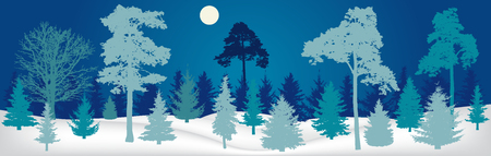 Winter landscape. Night forest panorama, silhouette. Vector illustration Stock Illustratie