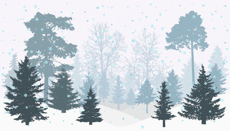 Winter snowy forest (trees) silhouette. Vector illustration. Stock Illustratie