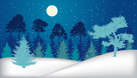 Night winter forest with snowfall, silhouette. Stock Illustratie