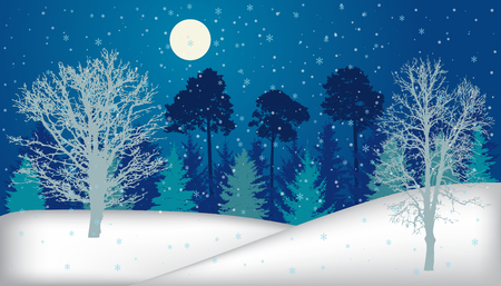 Night forest (trees) in winter with snowfall and full moon, silhouette. Vector illustration