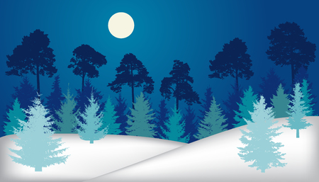 Night forest (fir trees, pines), winter landscape, silhouette. Vector illustration