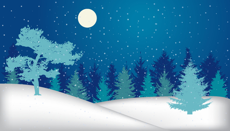 Winter landscape. Snowy night forest (fir trees, pine), silhouette. Vector illustration Stock Illustratie