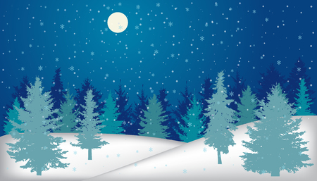 Silhouette of night forest in winter with snowfall and full moon. Vector illustration