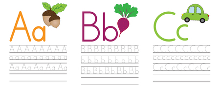 Writing practice of letters A,B,C. Education for children. Vector illustration Stock Illustratie