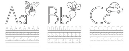 Writing practice of letters A,B,C. Coloring book. Education for children. Vector illustration Stock Illustratie