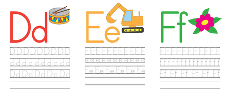 Writing practice of letters D,E,F. Education for children. Vector illustration Illustration