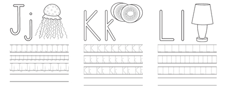 Writing practice of letters J,K,L. Coloring book. Education for children. Vector illustration